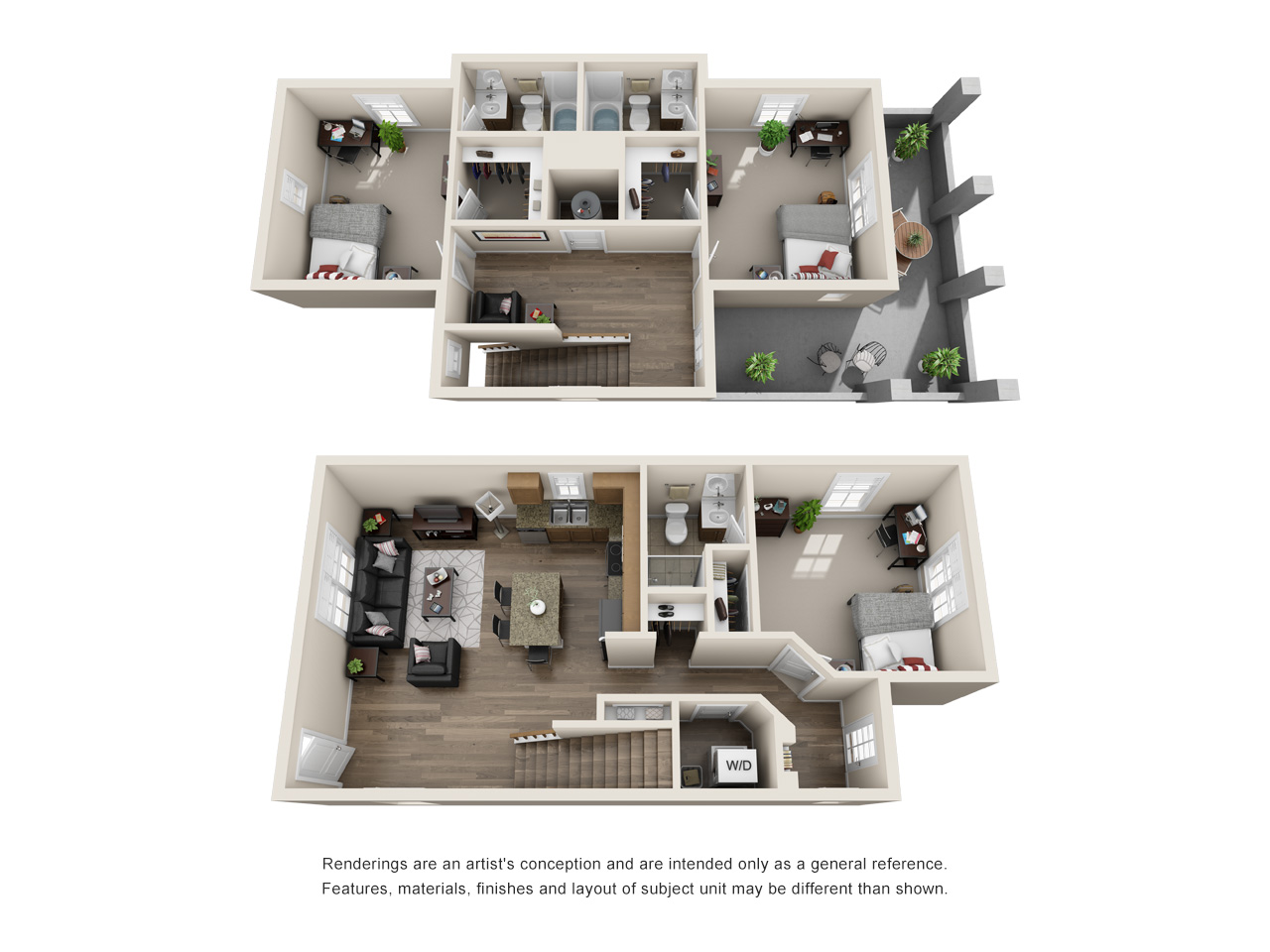 Three bed, three bath floor plan