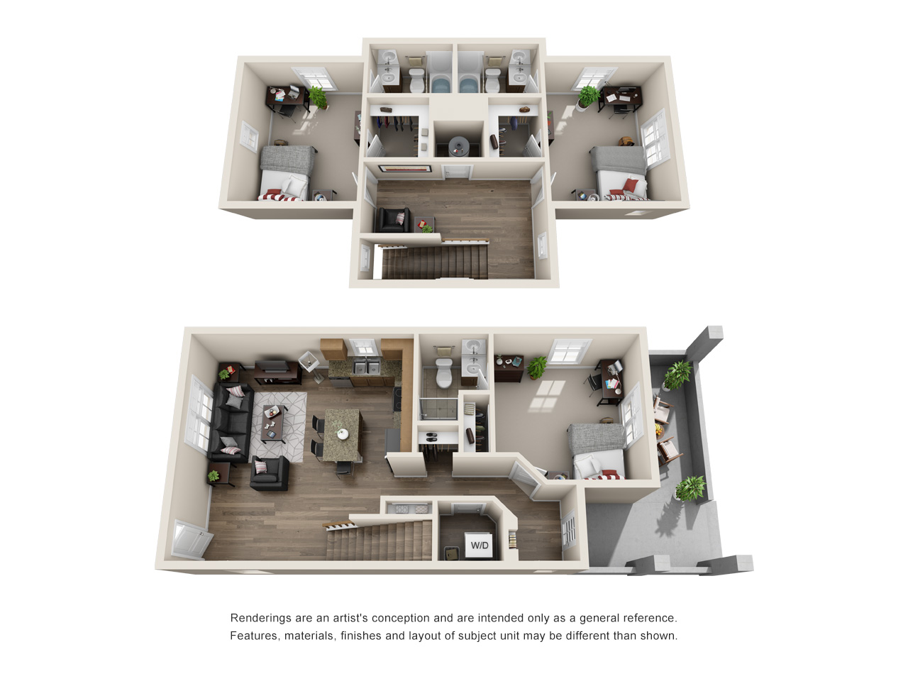 Floor plan of a 3 bed, 3 bath student apartment